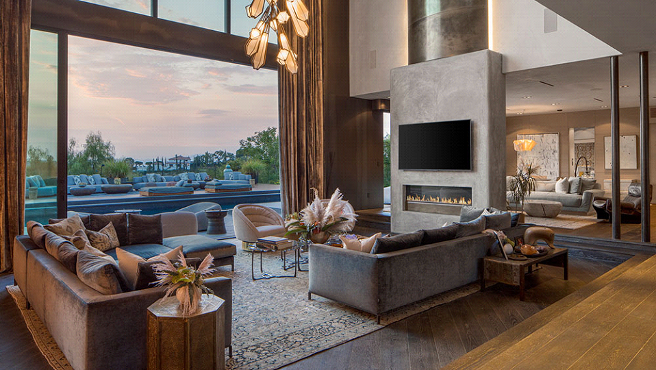 Chrissy Teigen and John Legen Beverly Hills Home floor-to-ceiling windows